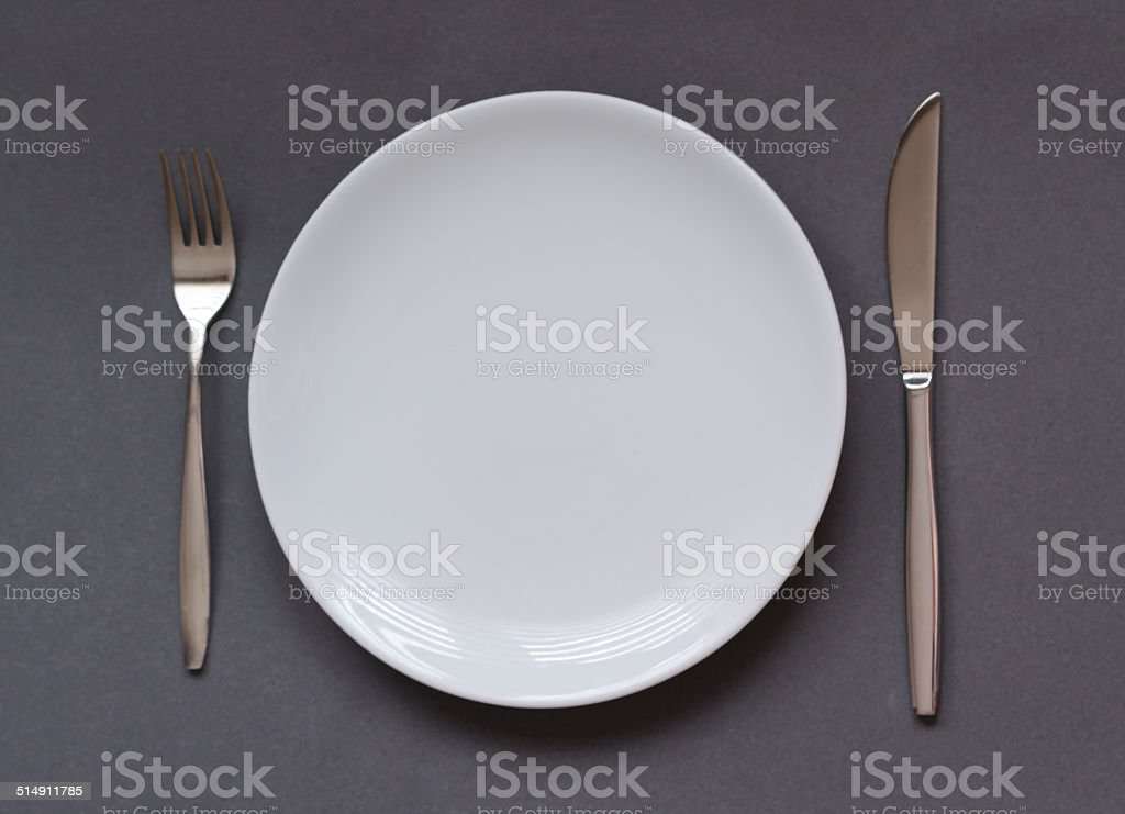 Fork knife plate stock photo
