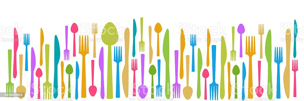 Fork Knife Spoon Abstract Colorful Horizontal vector art illustration