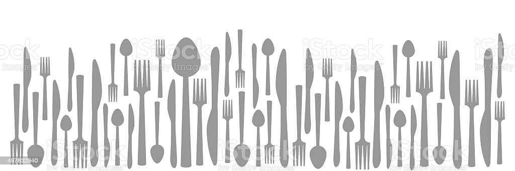 Fork Knife Spoon Abstract Gray Horizontal vector art illustration