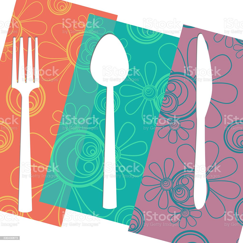 Fork Knife Spoon Floral Isolated stock photo