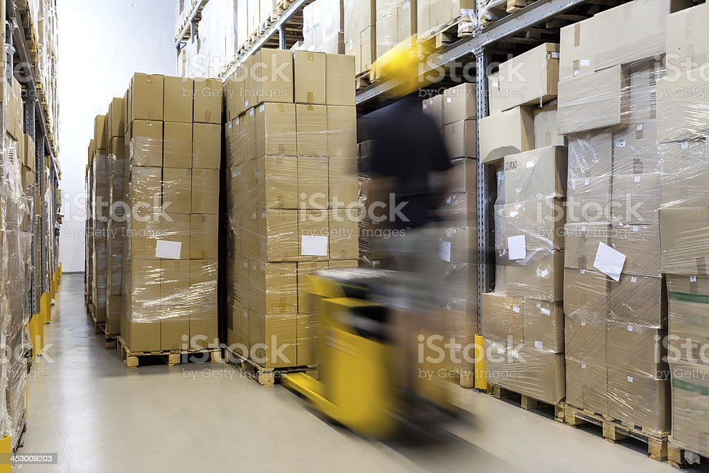 Fork lift at work stock photo