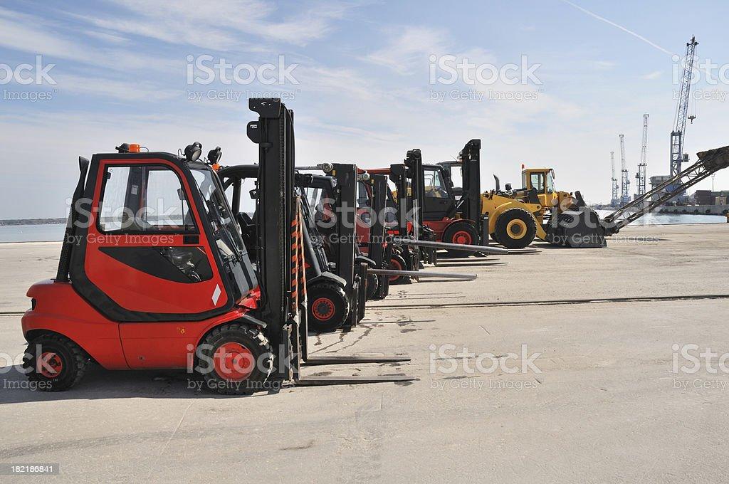 Fork lift fleet stock photo