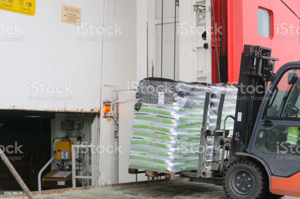 Fork lift loading goods stock photo