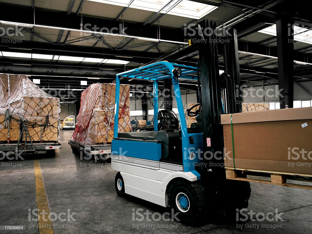 fork lift on duty royalty-free stock photo