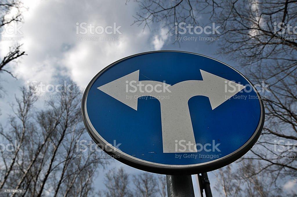 Fork road warning sign. stock photo