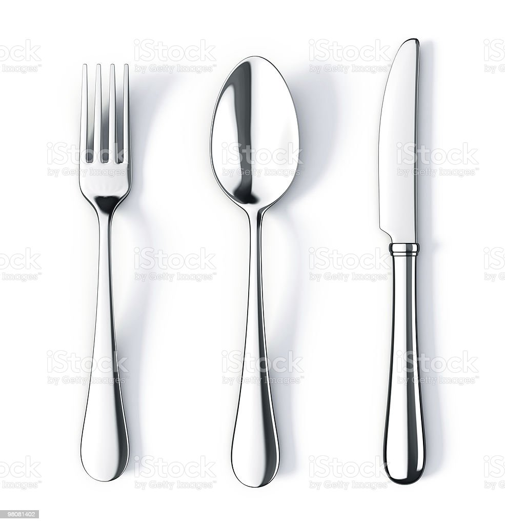 Fork spoon and knife stock photo
