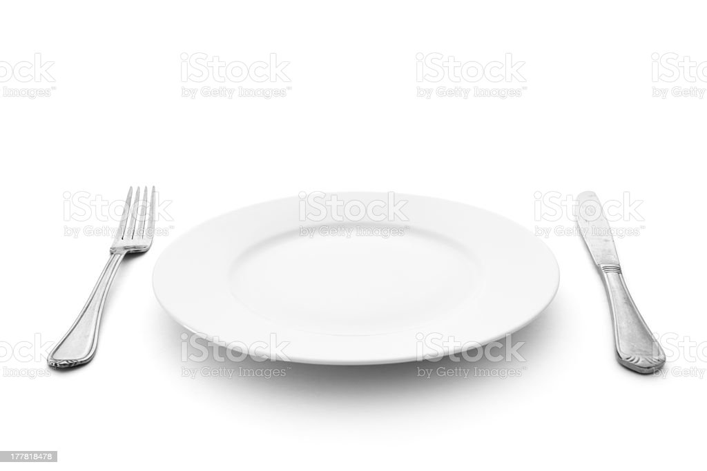 fork with knife and plate stock photo