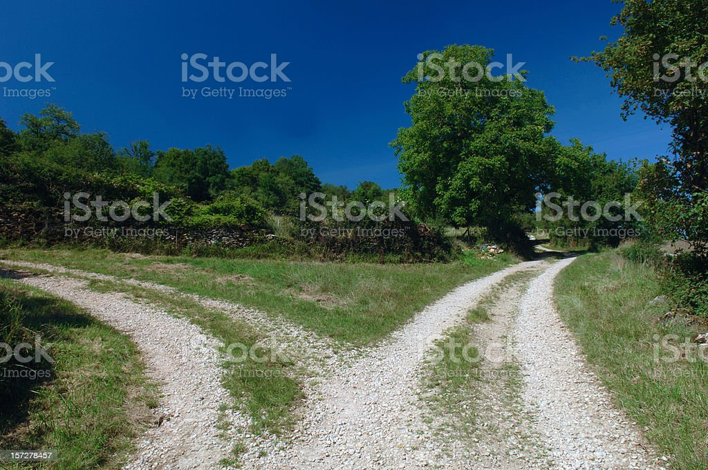 Forked dirt gravel road under blue sky royalty-free stock photo