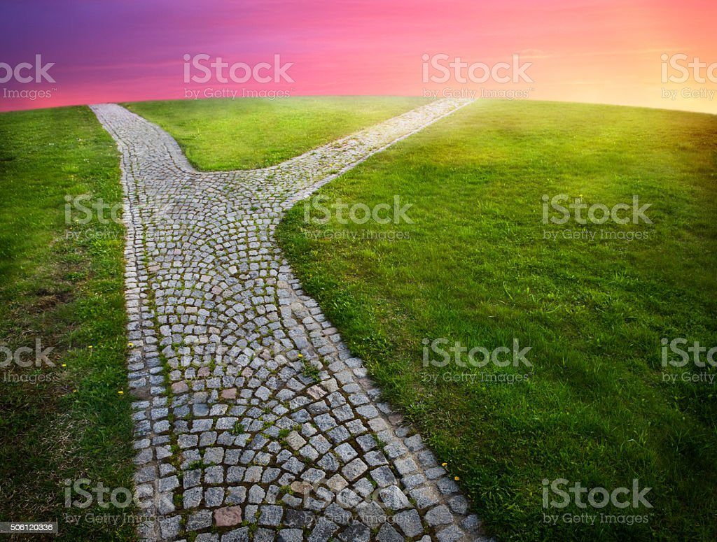 forked path with colorful sky and horizon stock photo