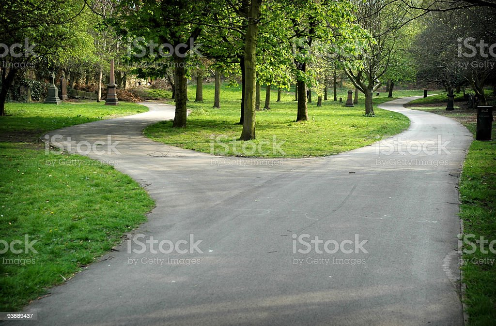 Forked road in St. James Gardens, Liverpool stock photo
