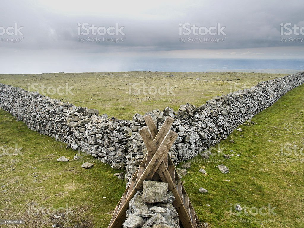 Forked Stone Wall stock photo