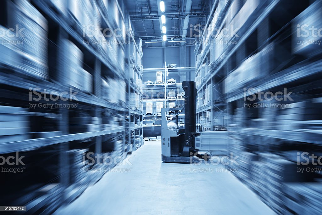 Forklift and Warehouse stock photo