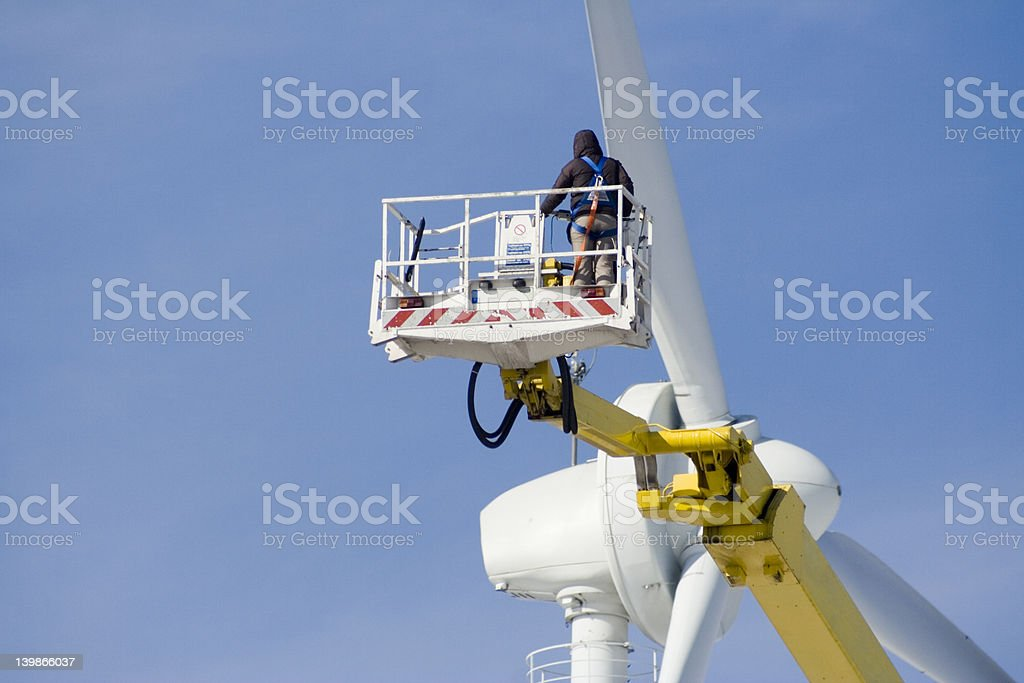 forklift and wind energy plant stock photo