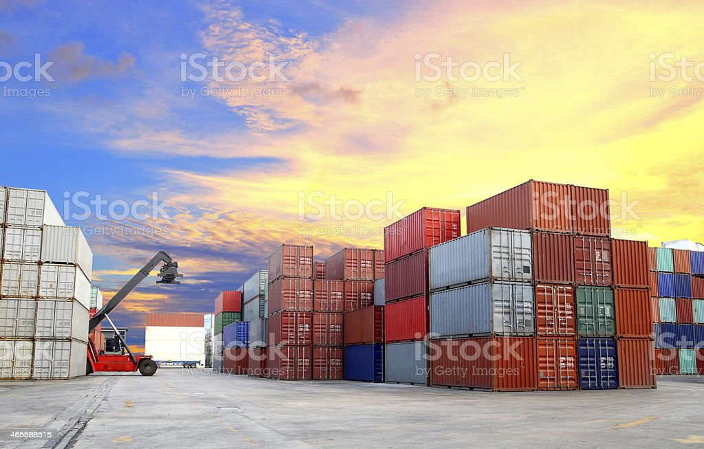 forklift at dockyard with beautiful sky stock photo