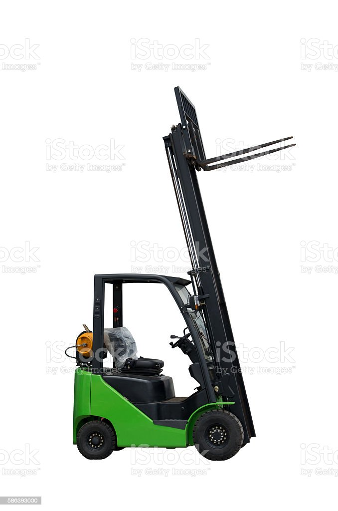 Forklift freight. Loading machine. stock photo