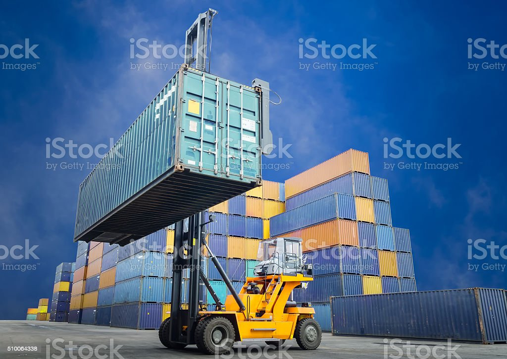 Forklift handling stock photo