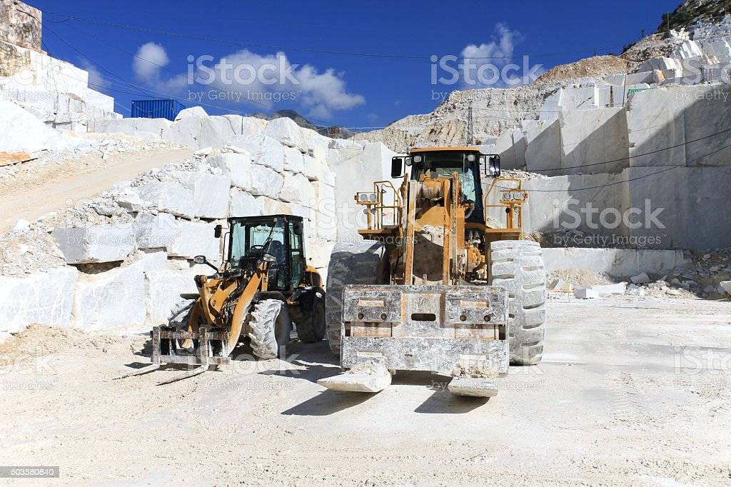 Forklift in a marble quarry of Carrara, Italy stock photo