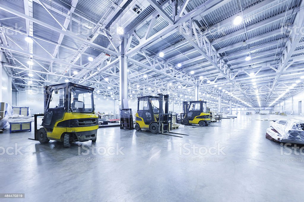 Forklift in a warehouse stock photo