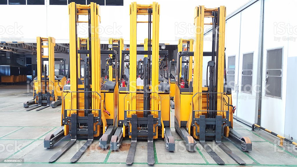 Forklift in loading warehouse stock photo