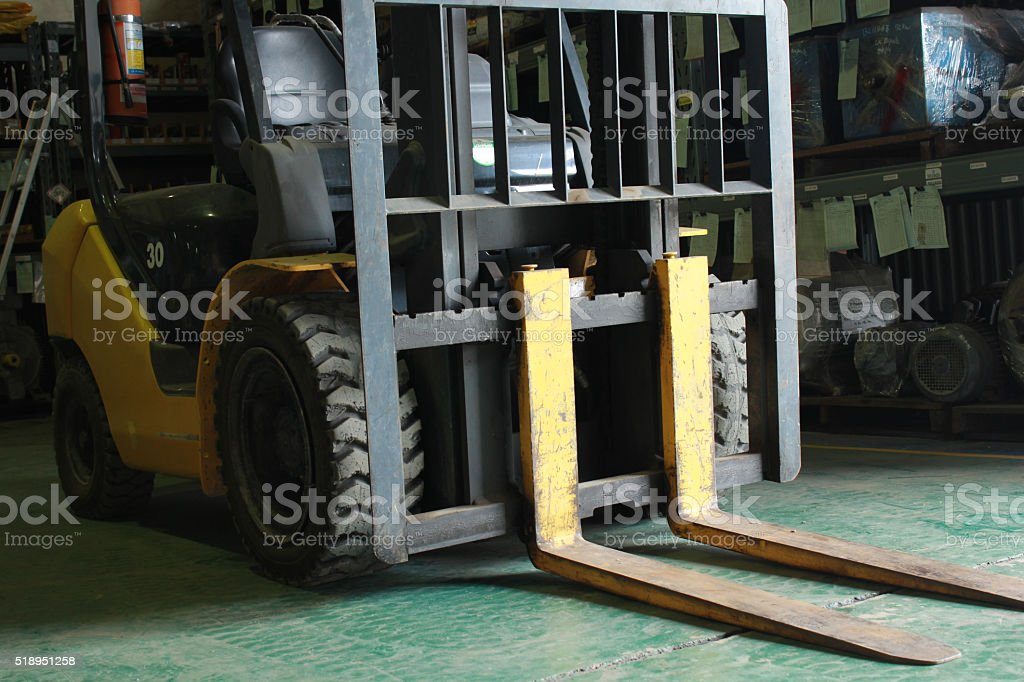 Forklift in the ware house stock photo