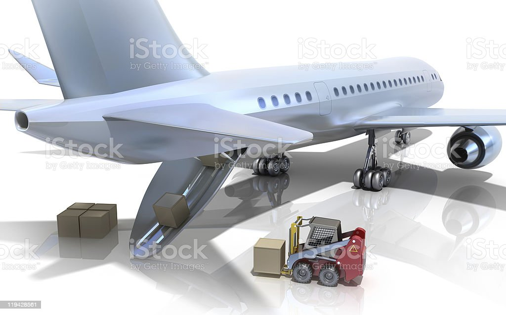Forklift is loading the airplane royalty-free stock photo