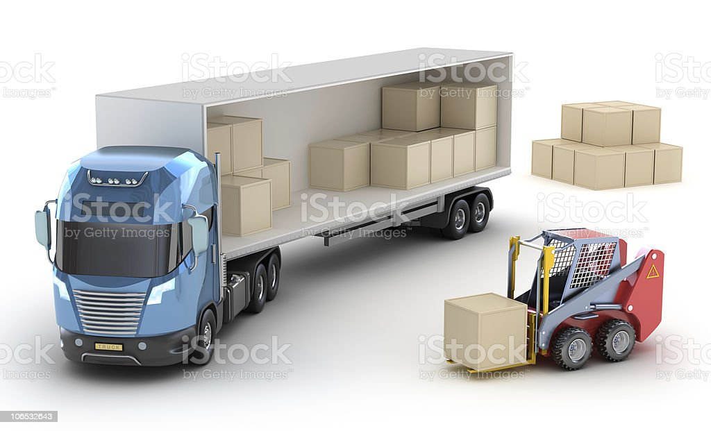 Forklift is loading the truck royalty-free stock photo
