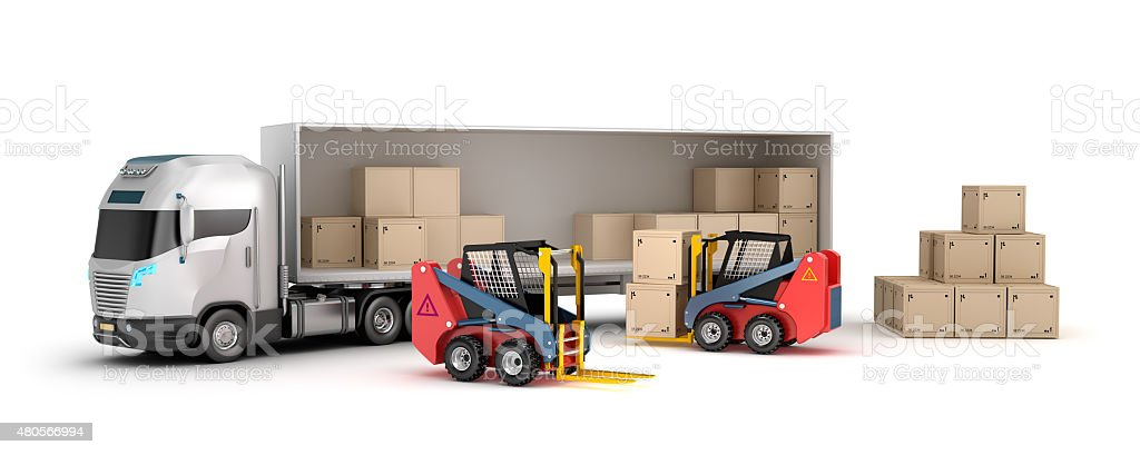 Forklift is loading the truck vector art illustration