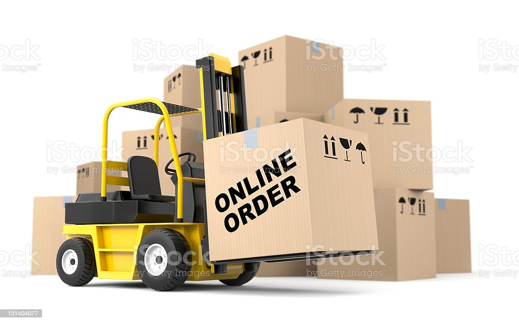 Forklift lifting giant box that reads online orders royalty-free stock photo