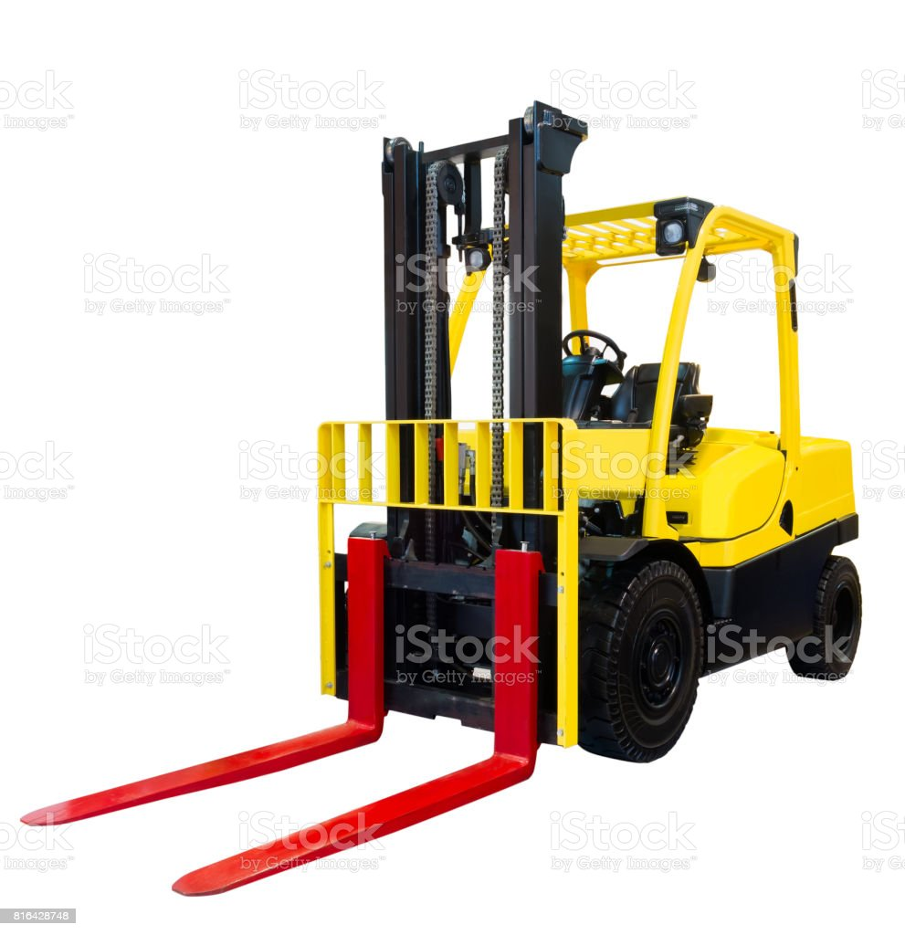 Forklift loader pallet stacker truck equipment yellow isolated on white background stock photo