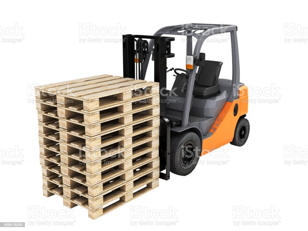 Forklift loader with pallets without shadow on white 3D stock photo