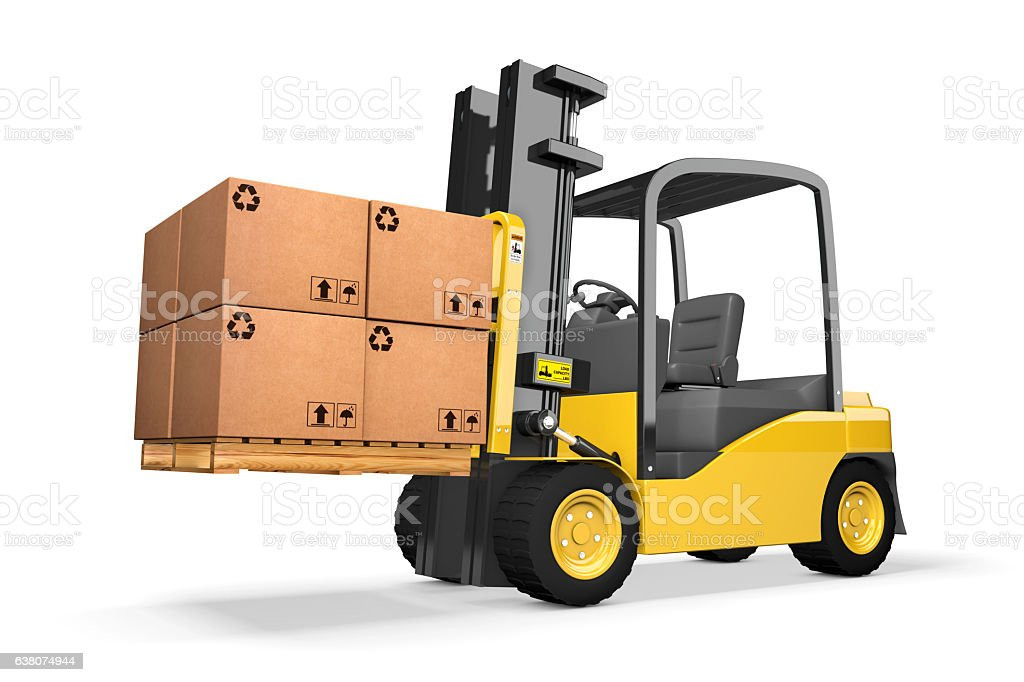 Forklift on White Background With Pallet stock photo
