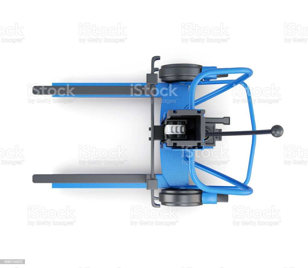 Forklift top view isolated on white background. 3d rendering stock photo