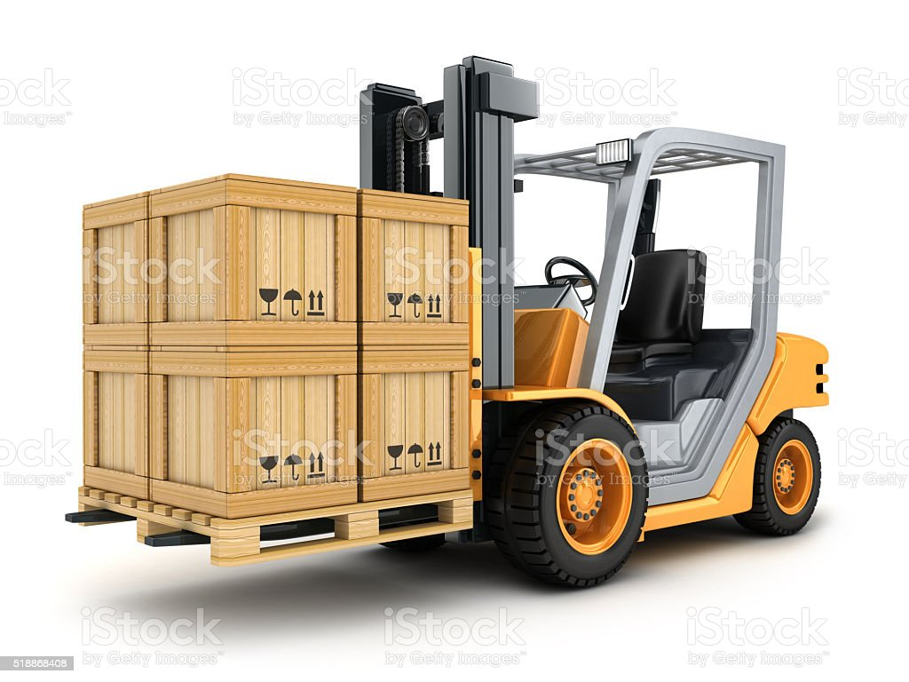 Forklift truck and box stock photo