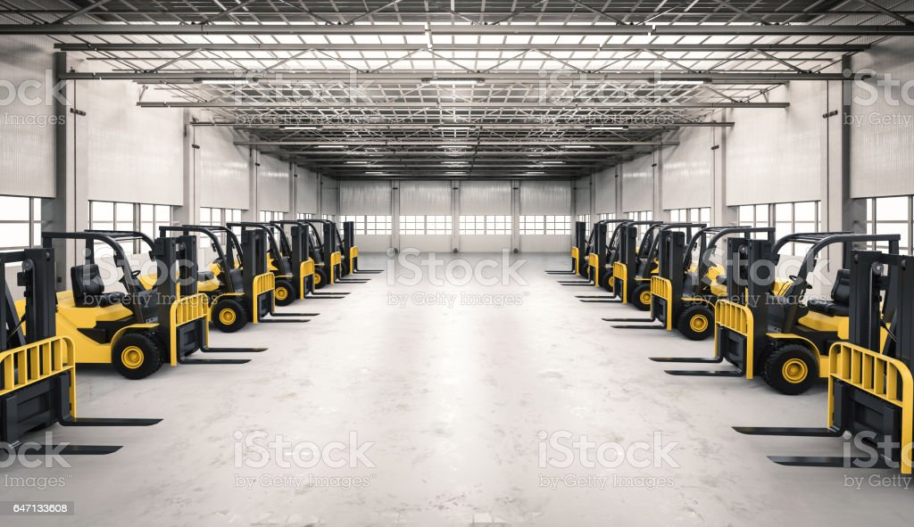 forklift truck in factory stock photo