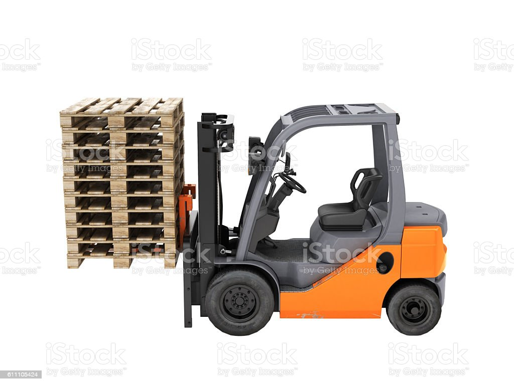 Forklift truck lifts the pallets. Without shadow. 3d render. stock photo