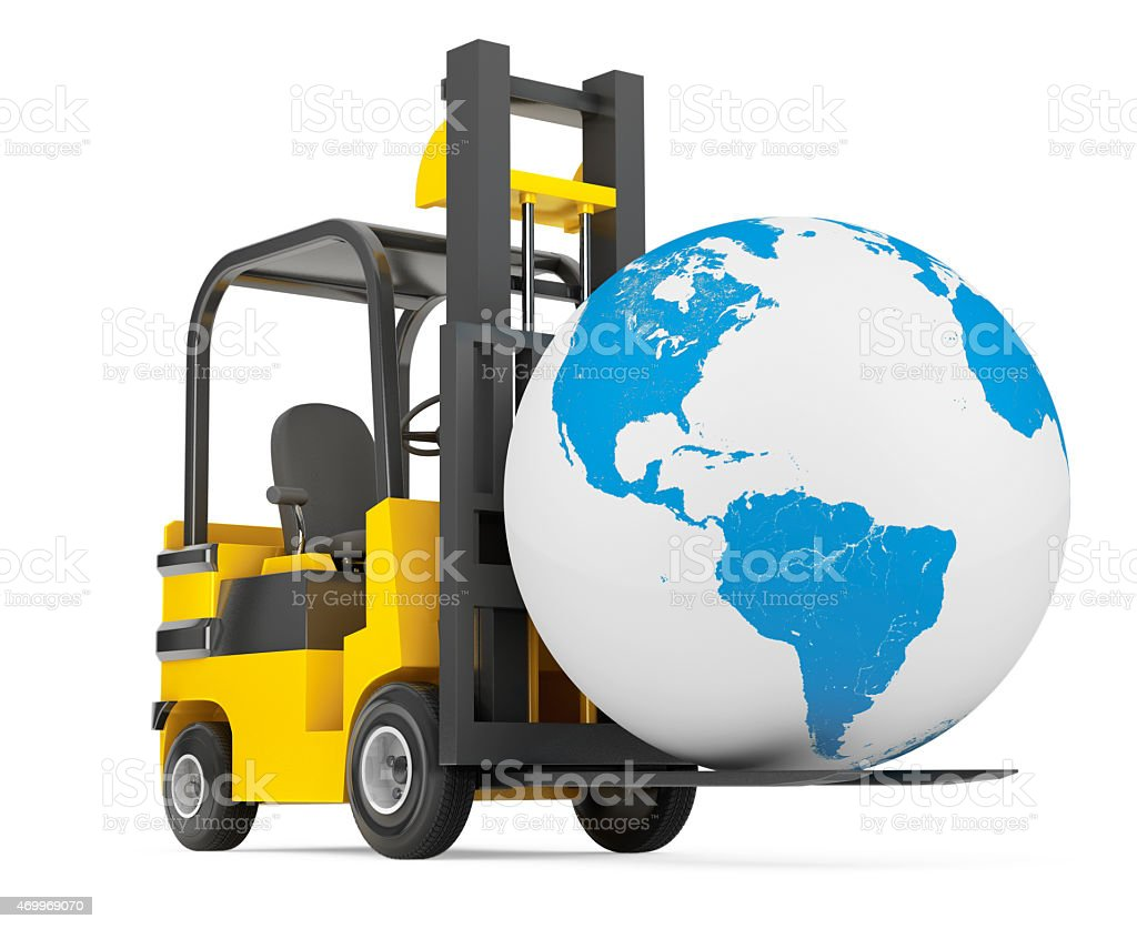 Forklift Truck moves Earth Globe stock photo