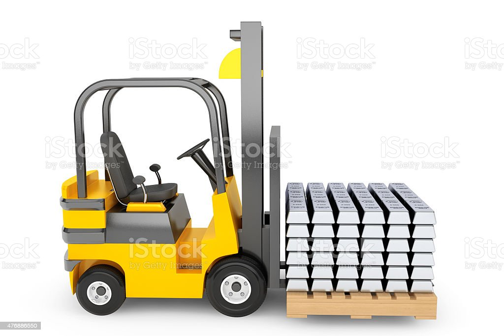 Forklift Truck moves Silver Bars stock photo