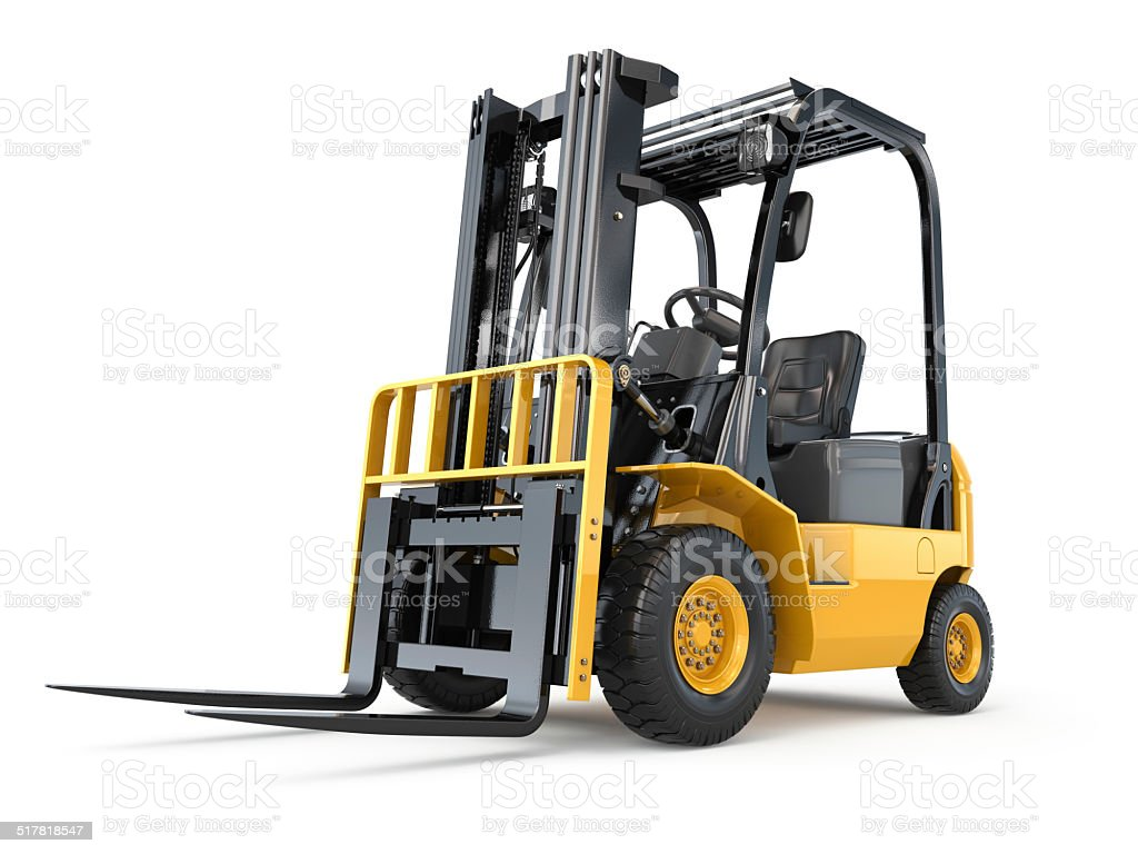 Forklift truck on white isolated background. stock photo