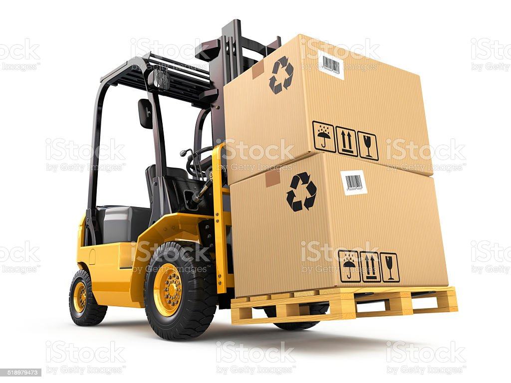 Forklift truck with boxes on pallet. Cargo. stock photo
