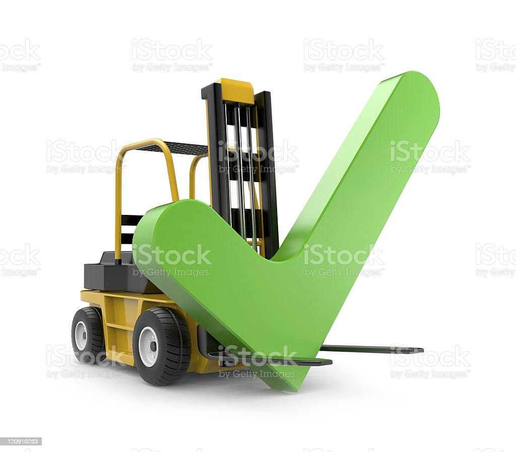 A forklift with a large green check mark on it royalty-free stock photo