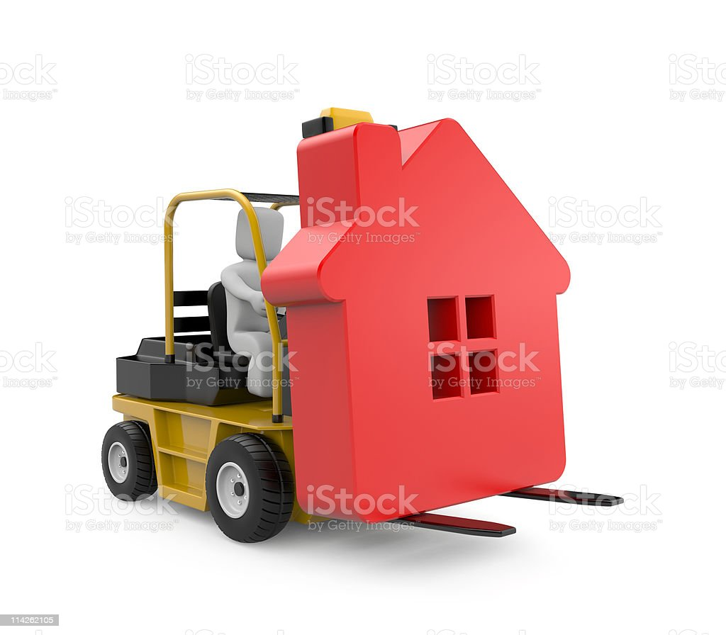 Forklift with house royalty-free stock photo