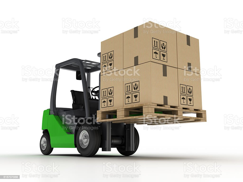 Forklift with Pallet and Cardboard Boxes stock photo