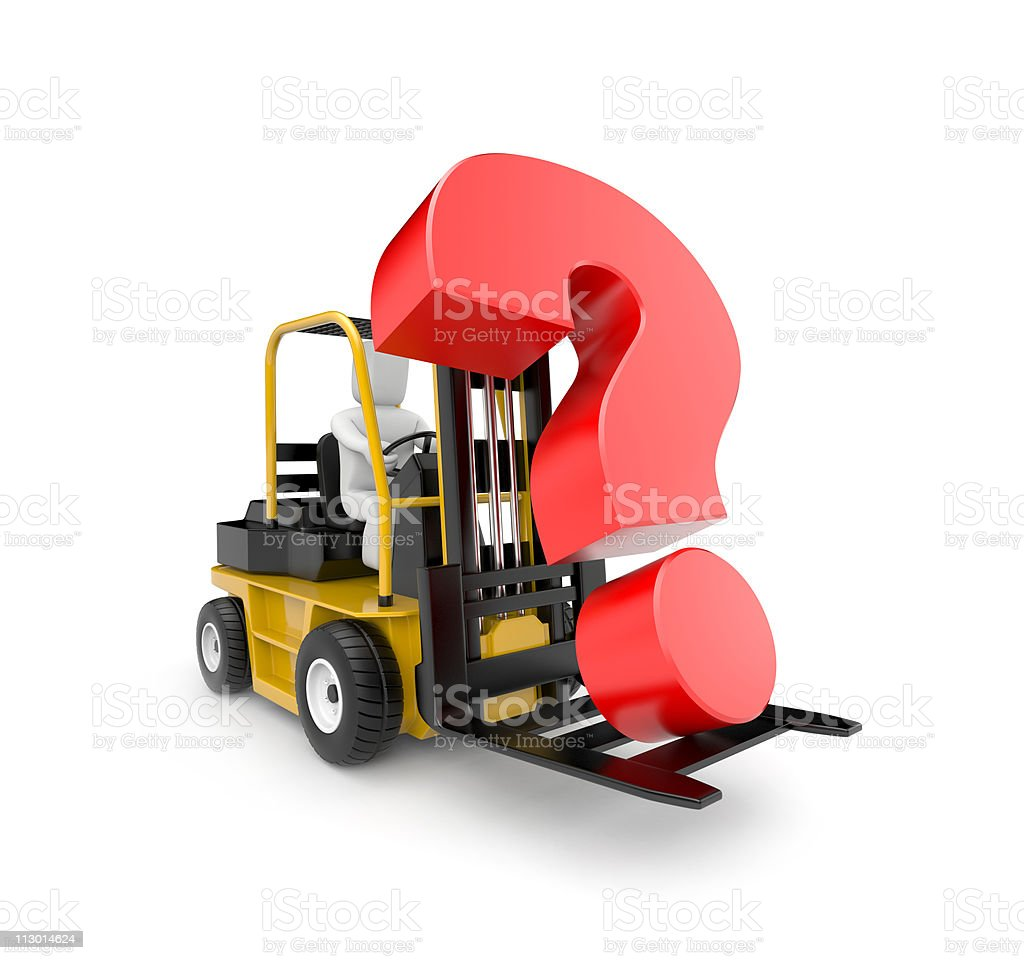Forklift with question royalty-free stock photo