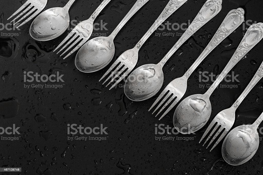 Forks and spoons stock photo