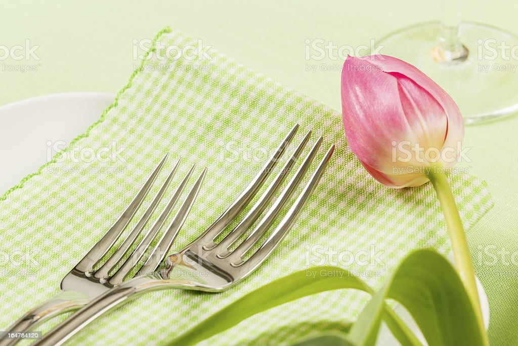 Forks On A Napkin With Pink Tulip royalty-free stock photo