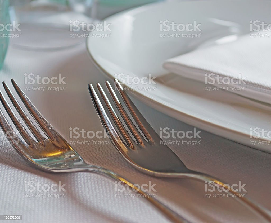 forks on a table cloth royalty-free stock photo