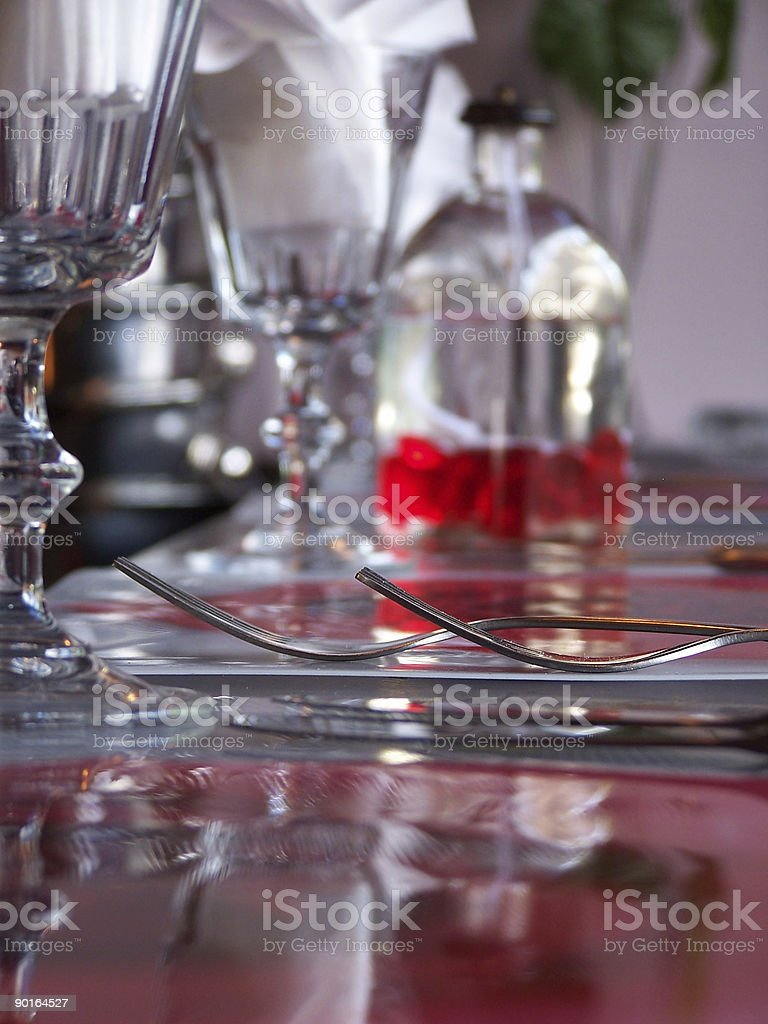 Forks, Red & Glass royalty-free stock photo