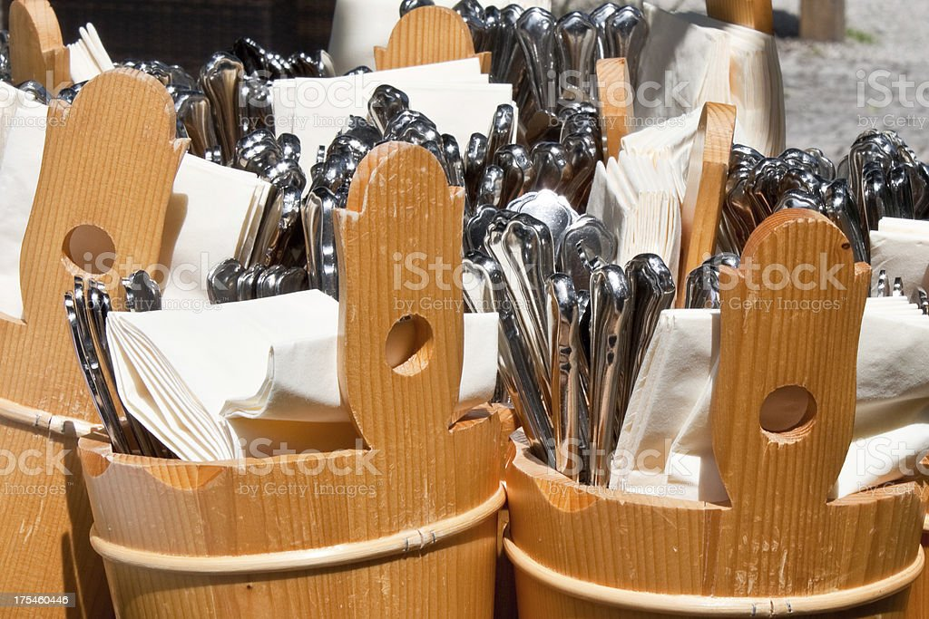 forks, spoons and knives in an outdoor cafe royalty-free stock photo