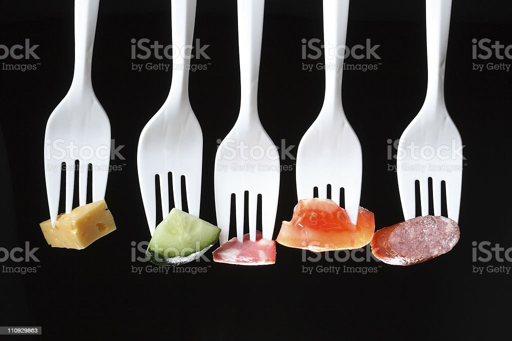 Forks With Food stock photo