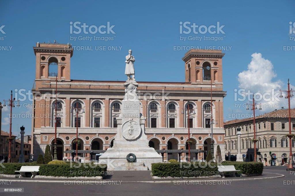 Forli (Italy): Aurelio Saffi square stock photo